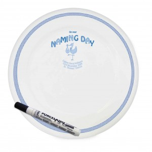 Stork Blue Naming Day Message Plate