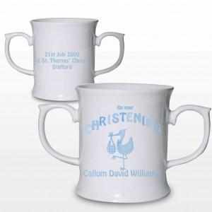 Stork Blue Christening Loving Mug