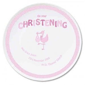 Stork Pink Christening Plate