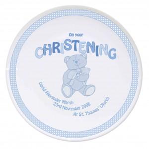 Teddy Blue Christening Plate