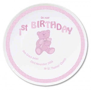 Teddy Pink 1st Birthday Plate