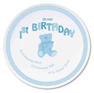 Teddy Blue 1st Birthday Plate
