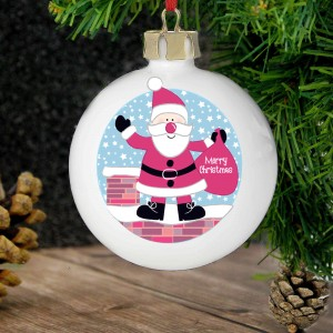 Rooftop Santa Christmas Bauble