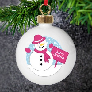 Rooftop Snowman Christmas Bauble