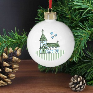 Whimsical Church Blue Bauble