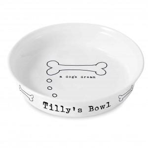 A Dogs Dream White Dog Bowl