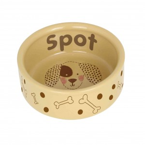 Dog Stitch Medium Brown Dog Bowl