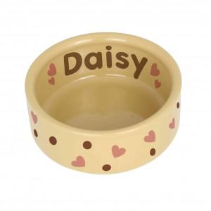 Dotty Heart Medium Brown Pet Bowl