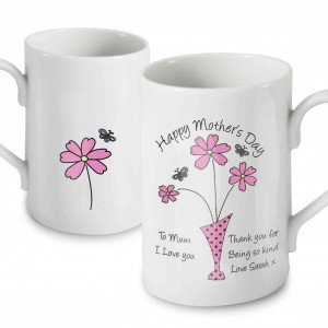 Flowers in Vase Message Mug