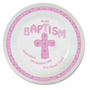 Pink Cross Baptism Plate