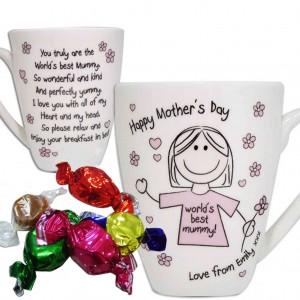 Worlds Best Mum T-Shirt Latte Mug