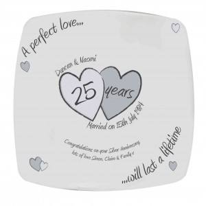 A Perfect Love Silver Anniversary Plate