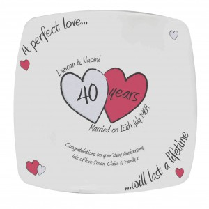 A Perfect Love Ruby Anniversary Plate