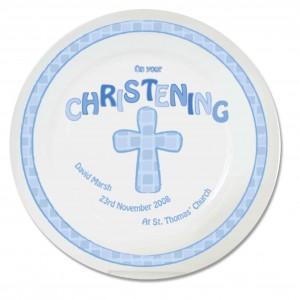 Blue Christening Plate