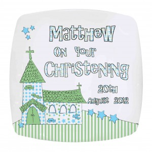 Whimsical Church Blue Plate