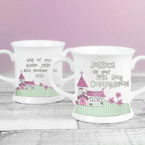 Whimsical Church Pink 1st Holy Communion Loving Mug