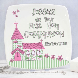 Whimsical Church Pink 1st Holy Communion Plate