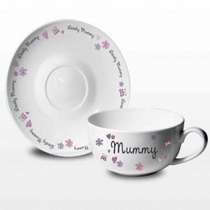 Flowers and Butterflies Teacup & Saucer