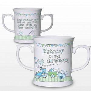 Whimsical Train Blue Mug