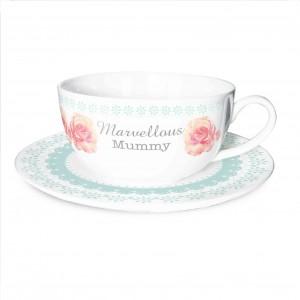 Vintage Rose Teacup & Saucer