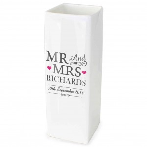 Mr & Mrs White Square Vase