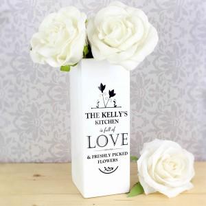 Full of Love White Square Vase