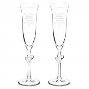 Glass Heart Stem Flutes