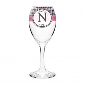 Houndstooth Wine Glass