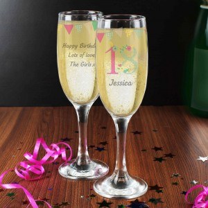 Birthday Craft Glass Flute