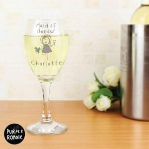 Purple Ronnie Female Wedding Wine Glass