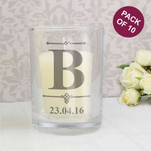 Pack of 10 Decorative Initial Votive Candle Holders