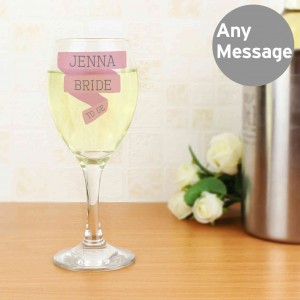 Pink Banner Wine Glass