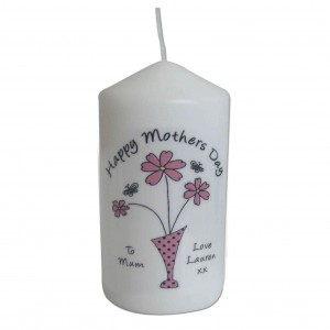 Flower in Vase Message Candle