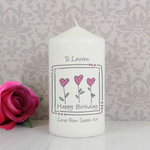 3 Hearts Message Candle
