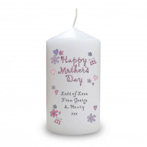 Flowers and Butterflies Happy Mothers Day Candle