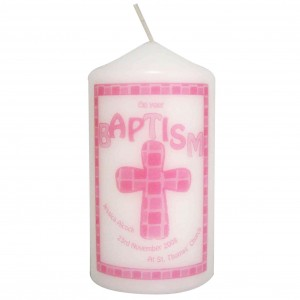 Pink Baptism Candle