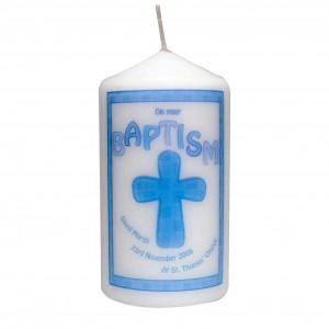 Blue Baptism Candle