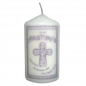 Grey Christening Candle