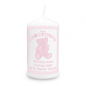 Teddy Pink Christening Candle
