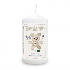 Cotton Zoo Blue Tweed the Bear Candle