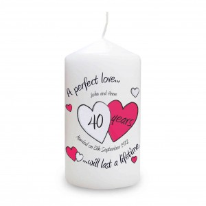 A Perfect Love Ruby Anniversary Candle