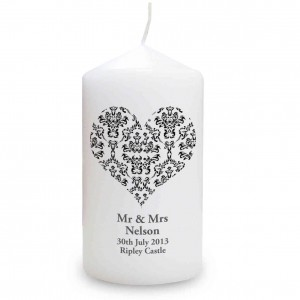 Black Damask Heart Candle