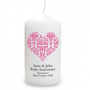 Ruby Damask Heart Candle