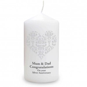 Silver Damask Heart Candle