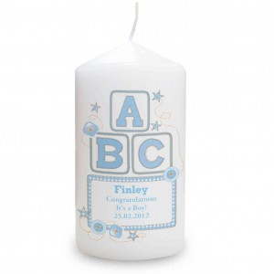Blue ABC Candle