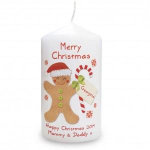 Felt Stitch Gingerbread Man Candle