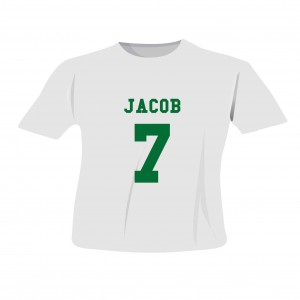 Green Name & Number T-shirt 7-8 Years