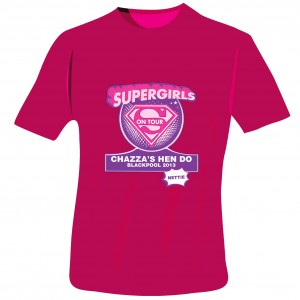 Supergirls Hen Do T-Shirt - Fuchsia Pink - Large