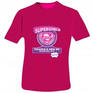 Supergirls Hen Do T-Shirt - Fuchsia Pink - Extra Large