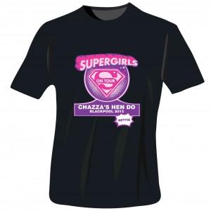 Supergirls Hen Do T-Shirt - Black - Small